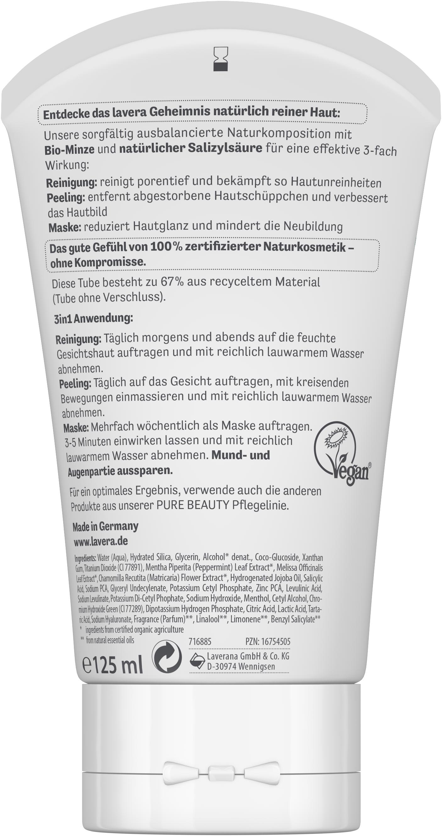 PURE BEAUTY 3in1 Reinigung Peeling Maske